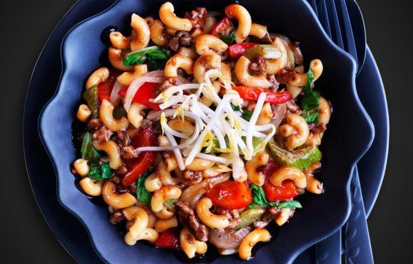 Veg Macaroni with Soya Sauce (Chinese style)